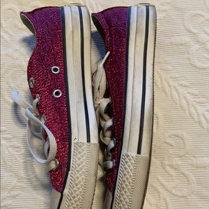 Converse Shoes - Magenta Sparkly Converse All Stars